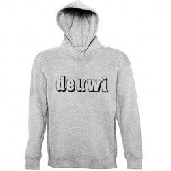 deuwi heather grey - sweat à capuche + poche kangourou